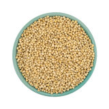 Whole grain sorghum seeds in a bowl on white background. Top view of a small bowl filled with whole grain organic sorghum seeds isolated on a white background Stock Image