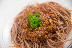 Whole Grain Spaghetti Bolognese Royalty Free Stock Image