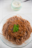 Whole Grain Spaghetti Bolognese Stock Photos