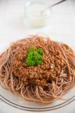 Whole Grain Spaghetti Bolognese Stock Images