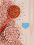 Whole grain Traditional Thai rice best rice for healthy and clean food . Whole grain Traditional Thai rice best rice for healthy and clean food on wooden Stock Photography