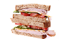 Whole grain turkey sandwich royalty free stock photos