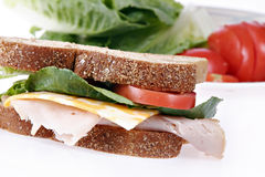 Whole grain turkey sandwich Royalty Free Stock Image