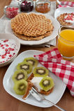 Whole Grain Waffles with fresh fruit Stock Photography