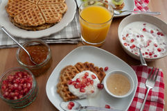 Whole Grain Waffles with fresh fruit Stock Photos