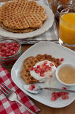Whole Grain Waffles with fresh fruit Royalty Free Stock Photo