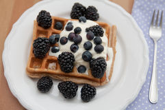 Whole Grain Waffles with whipped cream Royalty Free Stock Photos