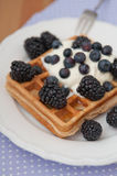 Whole Grain Waffles with whipped cream Stock Photo