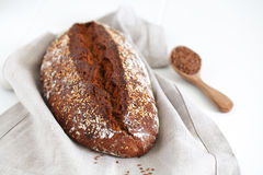 Whole grain wheat bread loaf with sesame and buckwheat Stock Photos