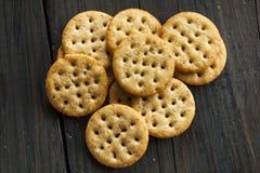 Whole Grain Wheat Round Crackers Royalty Free Stock Photos