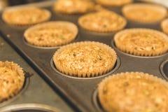 Whole Grain Zucchini Muffins in Pan stock photo