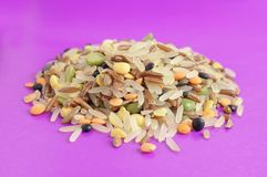 Whole Grains & Beans Mix (Rice, Peas, Lentils) Royalty Free Stock Photo