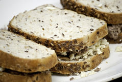 Whole grains tuna sandwish. Three whole grains tuna sandwich Stock Photo