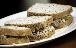 Whole grains tuna sandwish. Three whole grains tuna sandwich Stock Images
