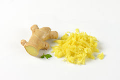 Whole and grated ginger Stock Images
