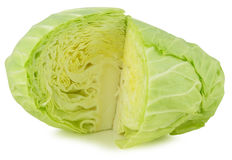 Whole green cabbage isolated on white Royalty Free Stock Images