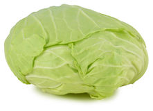 Whole green cabbage isolated on white.  Stock Images
