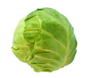 Whole green cabbage isolated on white with dewdrop Royalty Free Stock Images