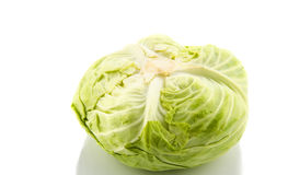 Whole green cabbage  on white Stock Images