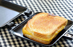 Whole Grilled Cheese in Sandwich Maker Royalty Free Stock Photos