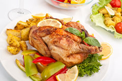 Whole grilled holiday chicken Royalty Free Stock Photography