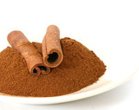 Whole ground cinnamon and stick Stock Photo