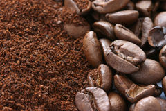 Whole and ground coffee beans. Scattered Stock Photos
