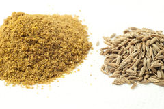 Whole and ground cumin Royalty Free Stock Image