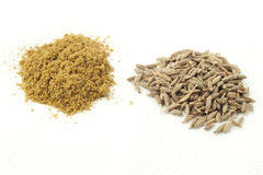 Whole and ground cumin Stock Image