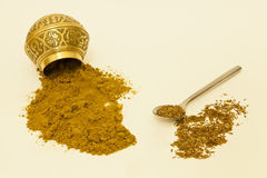 Whole And Ground Cumin Seeds. Whole cumin seeds and ground cumin powder Stock Photo
