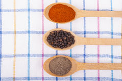 Whole and ground pepper in a wooden spoon Stock Image