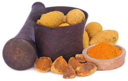 Whole and ground turmeric Stock Image