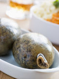 Whole Haggis with Neeps Tatties and Whiskey Royalty Free Stock Photos