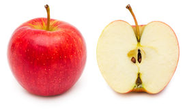 Whole and half apple Royalty Free Stock Images
