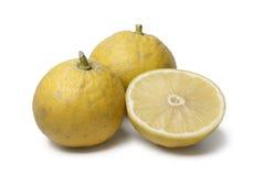 Whole and half Bergamot oranges. On white background stock photography