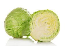 Whole and half of cabbage Stock Image
