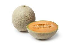 Whole and half Cantaloupe melon Stock Photos