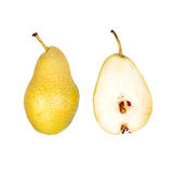 Whole and half cut pear Stock Photography