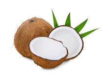 Whole and half of dry coconut with green leaves  Royalty Free Stock Photography