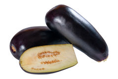 Whole and half eggplant Royalty Free Stock Photo