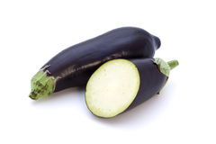Whole and half eggplant stock photos