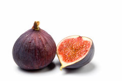 A whole and a half fig isolated Stock Photo