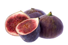 Whole and Half Figs, Isolated Stock Photos
