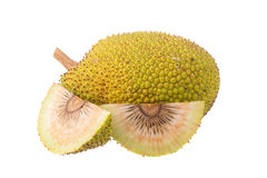 Whole and half fresh breadfruit on white background Royalty Free Stock Images
