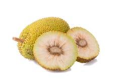 Whole and half fresh breadfruit on white background Stock Photography