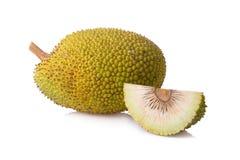 Whole and half fresh breadfruit on white background Stock Image