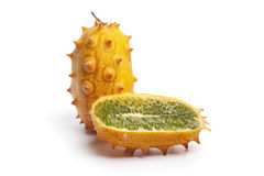 Whole and half fresh Horned Melon Royalty Free Stock Photo