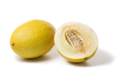 Whole and half honeydew melon stock photos
