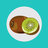 Whole and half of kiwi fruit flat design vector illustration