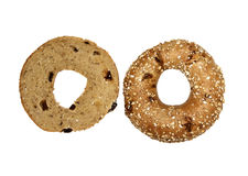 Whole and half Muesli Bagel Royalty Free Stock Photos